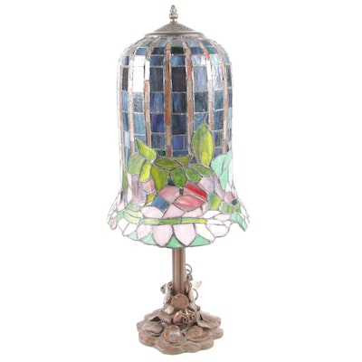 Tiffany Style Flowering Lotus Stained Glass Accent Lamp