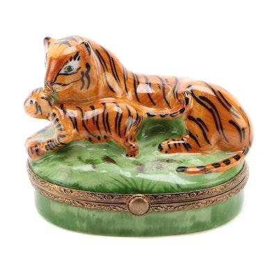 "Ste' Porcelainière Limoges ""Tiger and Cub"" Hand-Painted Porcelain Trinket Box"