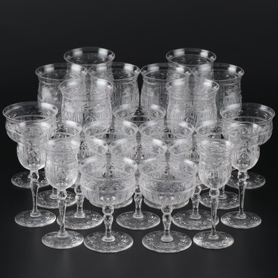 Cut Crystal Water Goblets, Champagne Coupes, and Cordial Glasses