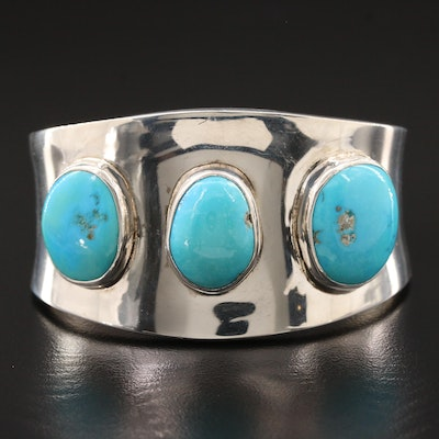 J. Kinches Sterling Silver Turquoise Cuff Bracelet
