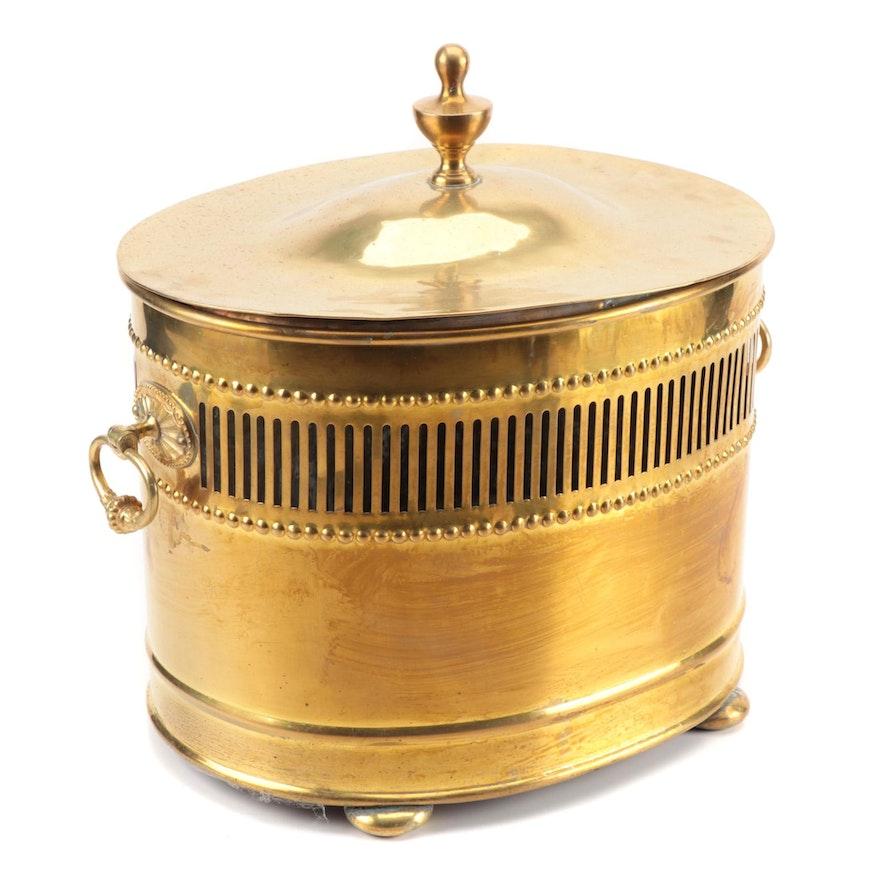 Neoclassical Style Pierced Brass Coal or Log Box