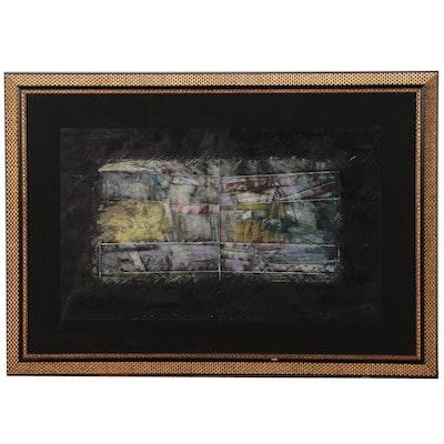 Gustavo Rivera Monumental Abstract Mixed Media Painting