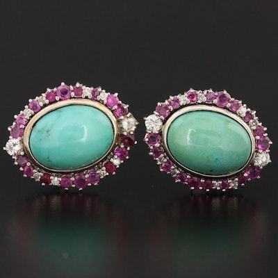Vintage 18K White Gold Turquoise, Diamond and Ruby Earrings
