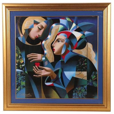 "Oleg Zhivetin Abstract Figural Serigraph ""Tender Heart"""