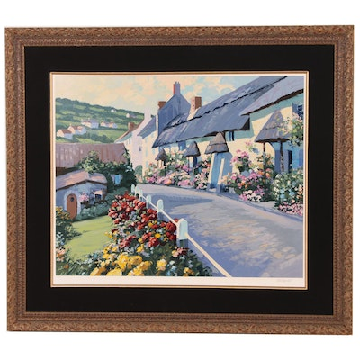 Howard Behrens Serigraph of Village Scene