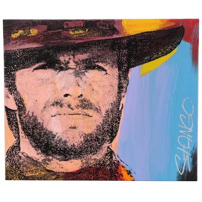 John Stango Pop Art Mixed Media Painting of Clint Eastwood