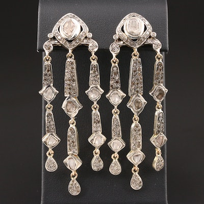 Vintage 14K Gold Diamond Girandole Earrings with Sterling Silver Accents
