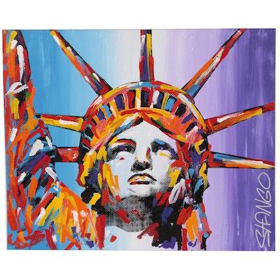 John Stango Pop Art Mixed Media Painting of the Statue of Liberty