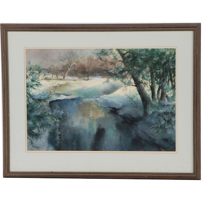 "Wesley Highmiller Watercolor Painting ""A Winter Stillness"""