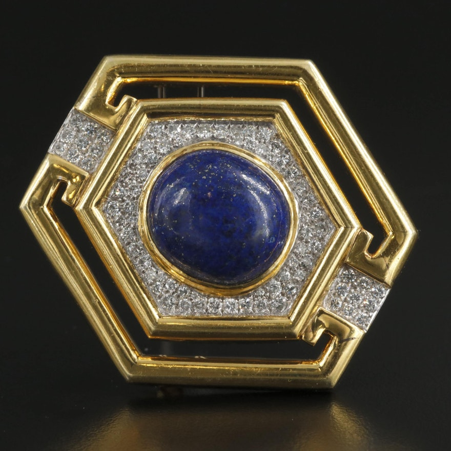 1970s Keil 18K Gold Lapis Lazuli and 2.02 CTW Diamond Converter Brooch