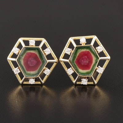 Vintage 18K Yellow Gold Watermelon Tourmaline and Diamond Button Earrings