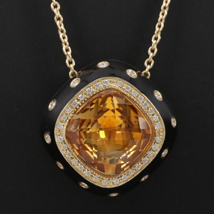 Favero 18K Yellow Gold 16.70 CTW Citrine, Diamond and Enamel Pendant Necklace