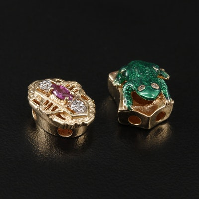 14K Yellow Gold Diamond, Ruby, and Enamel Pendants Including Frog Slide Pendant