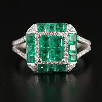Gregg Ruth 18K White Gold Emerald and Diamond Ring
