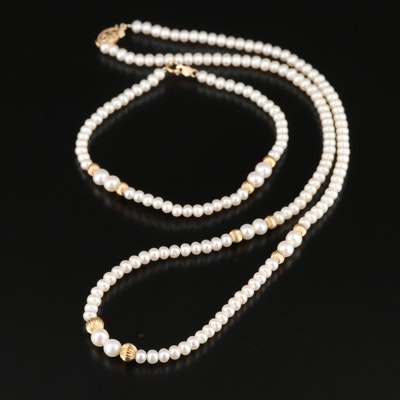 14K Yellow Gold Cultured Pearl Beaded Necklace and Bracelet Set