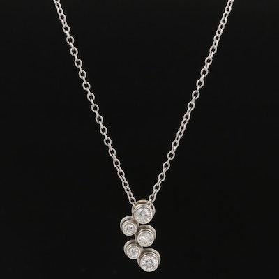 Platinum Diamond Pendant on Cable Chain Necklace