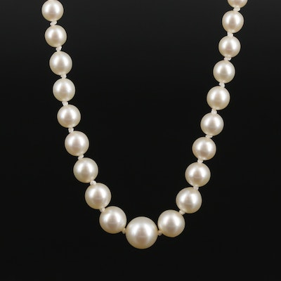 Sterling Silver Cultured Pearl Graduated Bead Necklace