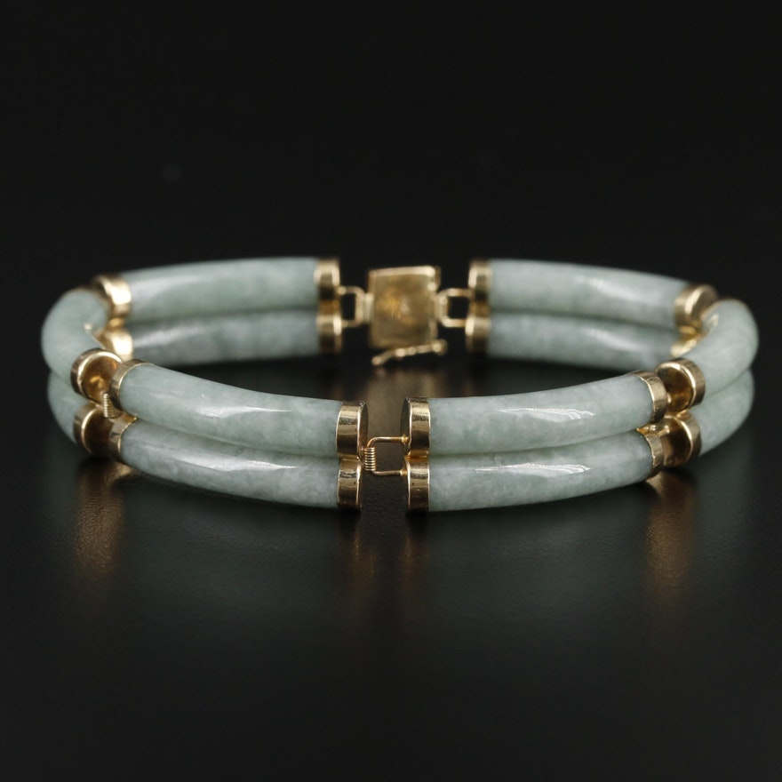 14K Yellow Gold Jadeite Bar Bracelet