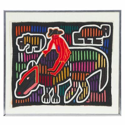 Guna Mola Applique and Embroidered Textile Panel