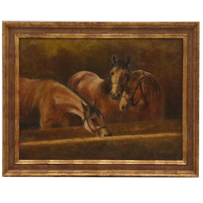 Oil Painting of Horses in Stable