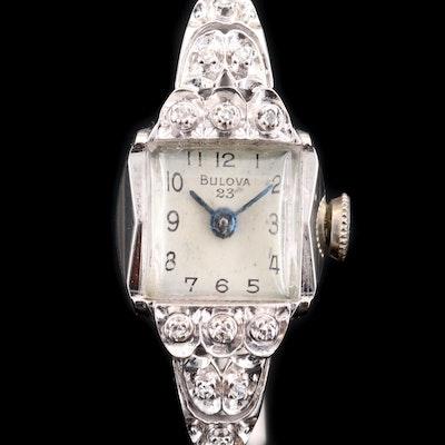 Bulova 14K Gold and Diamond Stem Wind Wristwatch