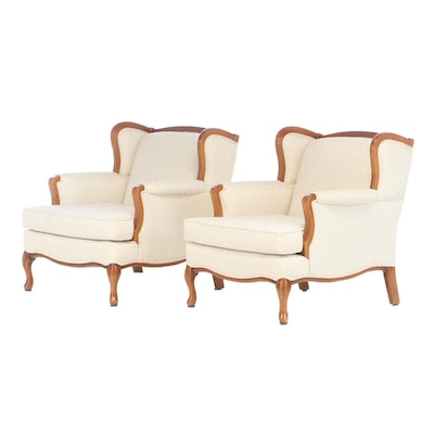 French Provincial Style Wingback Chairs, Late 20th Century