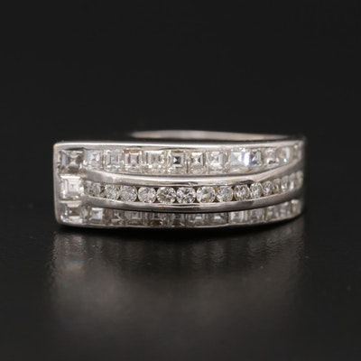 Contemporary 18K White Gold 1.20 CTW Diamond Ring