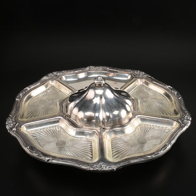Sheridan Silver Co. Silver Plate Lazy Susan Serving Set, Mid-20th Century
