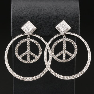 18K White Gold Diamond Stud Earrings with Peace Sign Jackets