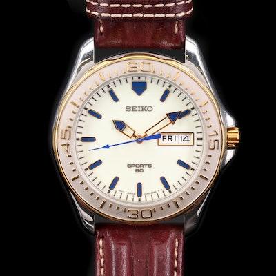 Seiko Sports Two Tone 50 Day/Date Quartz Wristwatch