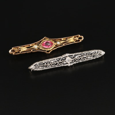 14K Gold and Platinum Diamond Brooch and 10K Faceted Glass and Pearl Brooch