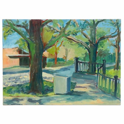 Farnoosh Lanjani Park Landscape Oil Painting, Late 20th Century