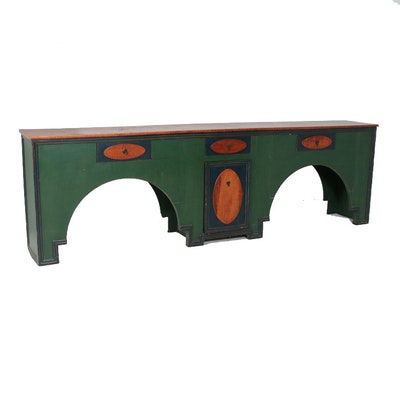 Primitive Style Polychrome-Decorated Tiger Maple Bar