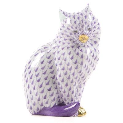 "Herend Lavender Fishnet with Gold ""Sitting Cat"" Porcelain Figurine"