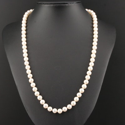 Mikimoto Cultured Pearl Necklace with 18K Yellow Gold Clasp