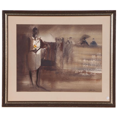 Fred Leach Abstract Watercolor Painting of Figures