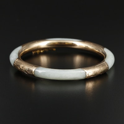 14K Yellow Gold Jadeite Hinged Bangle Bracelet