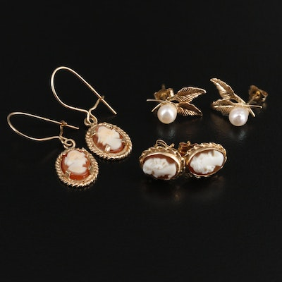 14K and 10K Yellow Gold Helmet Shell and Pearl Cameo Earrings Selection