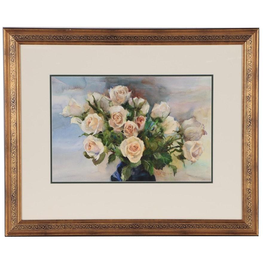 "Judy Nakari Watercolor Painting ""Susan's Roses"""