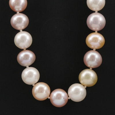 Rambaud Pearl and Diamond Necklace with 18K White Gold Clasp