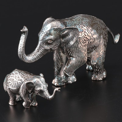 Christofle France Silver Plate Elephant Figurines