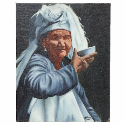 "Farshad Lanjani Oil Painting ""The Old Woman,"" 1986"