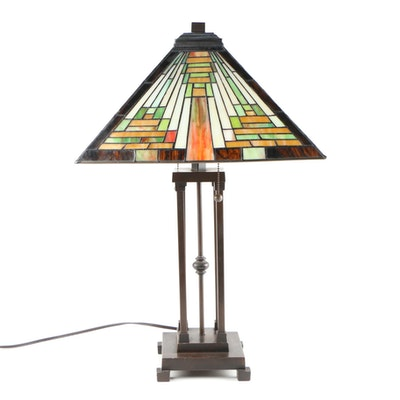 Mission Style Stained Glass Table Lamp, Late 20th Century