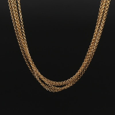 18K Yellow Gold Multi-Strand Cable Link Chain Necklace