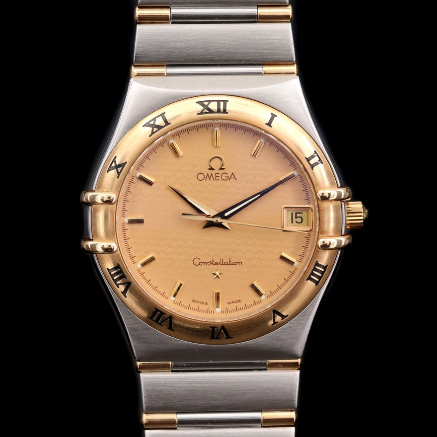 Omega Constellation 18K Gold and Stainless Steel Quartz Wristwatch, Circa 1995