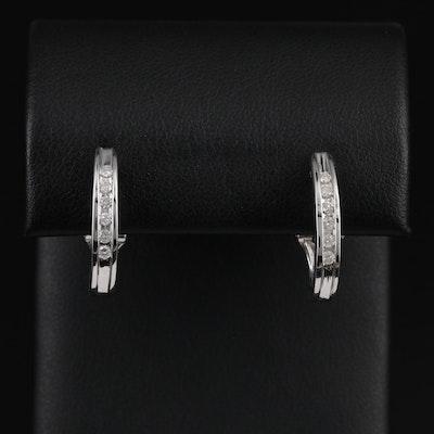 14K White Gold Diamond J Hoop Earrings