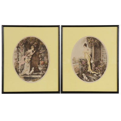 """Hand-colored Collotypes of Women """"The Rendezvous"""" and """"The Letter"""""""