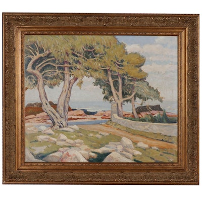 Post-Impressionist Style Oil Painting of Mediterranean Landscape