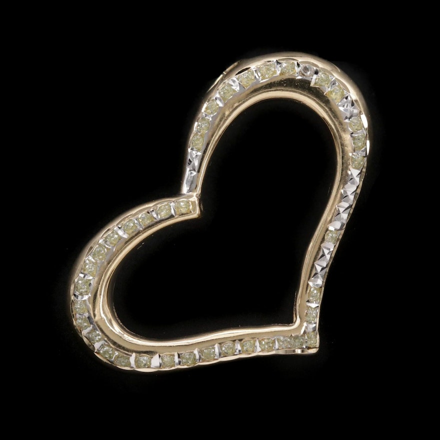 14K Yellow Gold Lucite Open Heart Pendant