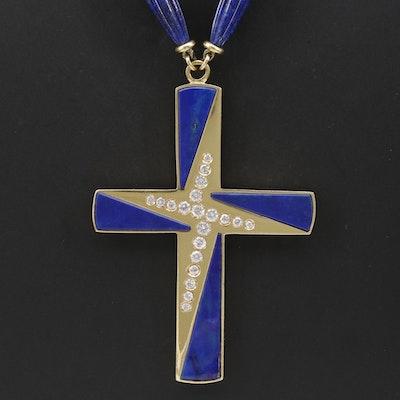 18K Yellow Gold Lapis Lazuli and Diamond Cross Necklace